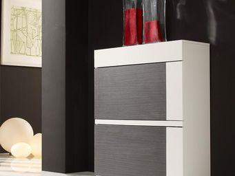 WHITE LABEL - meuble à chaussures blanc/cendre - seven - l 80 x  - Meuble À Chaussures