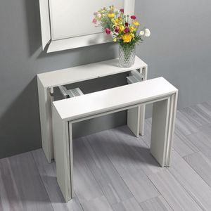 WHITE LABEL - console extensible ford chêne blanc contour intér - Console Extensible