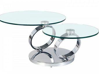 WHITE LABEL - table ring à plateaux pivotants en verre - Table Basse Avec Plateau