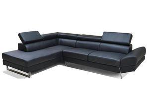 WHITE LABEL - canapé d'angle gauche fixe venise cuir éco noir - Canapé Modulable