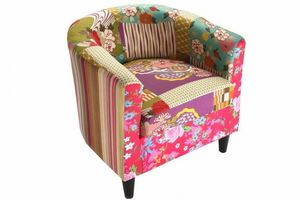 WHITE LABEL - fauteuil rio patchwork avec accoudoirs - Fauteuil