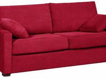 Home Spirit - canapé fixe 3 places osman tissu tweed rouge - Canapé 3 Places