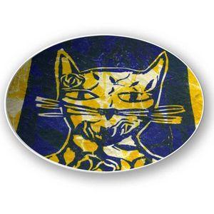 la Magie dans l'Image - assiette monsieur chat jaune - Assiette De Présentation