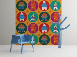 la Magie dans l'Image - grande fresque murale héros pattern orange - Papier Peint Panoramique