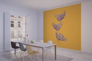 la Magie dans l'Image - grande fresque murale poules orange - Papier Peint Panoramique