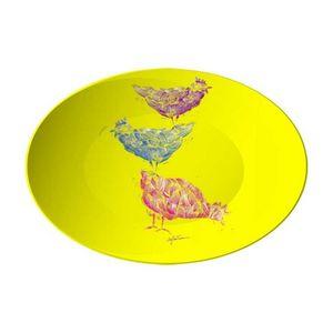 la Magie dans l'Image - assiette poules jaune - Assiette De Présentation