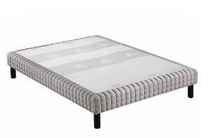 WHITE LABEL - sommier tapissier epeda piqué gris clair confort m - Sommier Fixe À Ressorts
