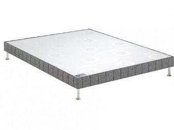 Bultex - bultex sommier tapissier confort ferme chiné gris - Sommier Fixe À Ressorts