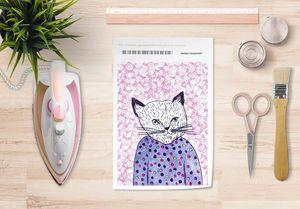 la Magie dans l'Image - papier transfert mon petit chat fond rose - Transfert