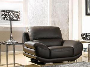 WHITE LABEL - fauteuil en cuir barcelona - Fauteuil