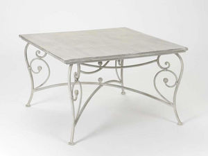 Amadeus - table basse volute embosse - gris - Table Basse Carrée