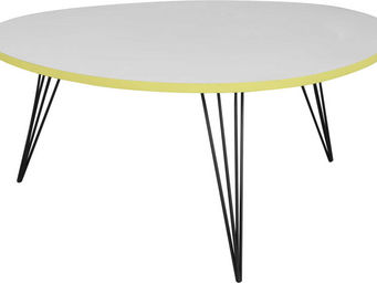 Amadeus - table basse ronde blanche et jaune - Table Basse Forme Originale