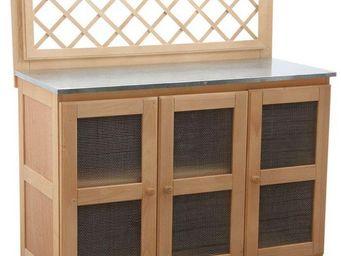 Aubry-Gaspard - cuisine d'été en bois et zinc pour plancha 116x51 - Cuisine D'extérieur