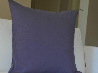 MAISON D'ETE - taie d'oreiller stone washed en coton violet - Taie D'oreiller