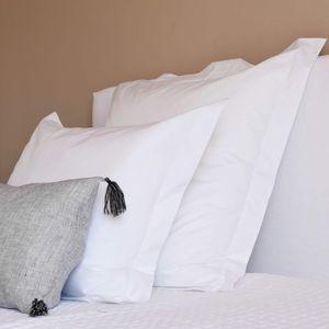 MAISON D'ETE - taie d'oreiller en percale de coton supima blanc  - Taie D'oreiller