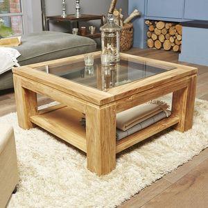 BOIS DESSUS BOIS DESSOUS - table basse vitrée en bois de teck 80 boston - Table Basse Carrée