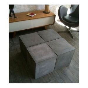 Mathi Design - table modulable beton - Table Basse Carrée