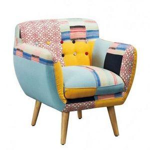 Mathi Design - fauteuil patchwork avec pieds bois lulea - Fauteuil