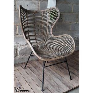 Mathi Design - fauteuil en rotin cocoon - Fauteuil