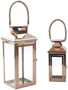Aubry-Gaspard - lanterne en métal cuivré et corde (lot de 2) - Lanterne D'extérieur