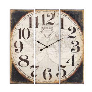 Horloge Carrée Indus En Sapin Et Métal Noirhorloge Murale