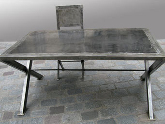 Lawrens - table en metal piettement x - Table De Repas Rectangulaire