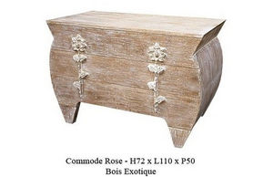 DECO PRIVE - commode en bois ceruse modele rose 3 tiroirs deco - Commode