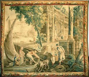 Galerie Hadjer - scene de port - Tapisserie D'aubusson