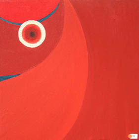 Deborah King - red circle 01 - Huile Sur Toile Et Huile Sur Panneau