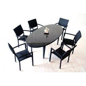 Salon de jardin en résine tressée x6 - Table de jardin ovale - wood ...