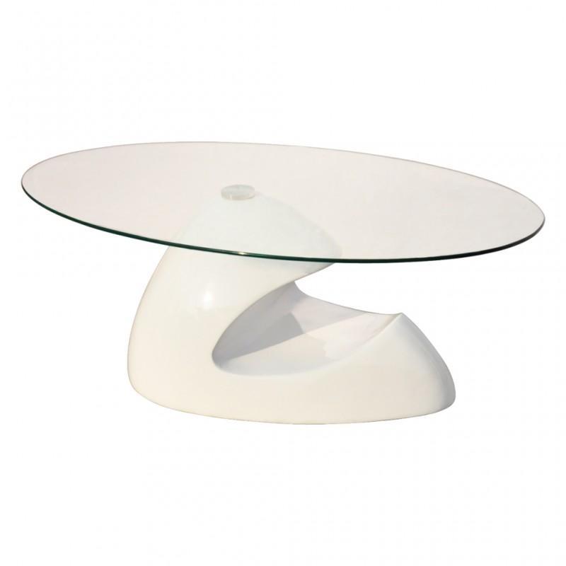 table basse design blanche verre table basse ovale white label. Black Bedroom Furniture Sets. Home Design Ideas