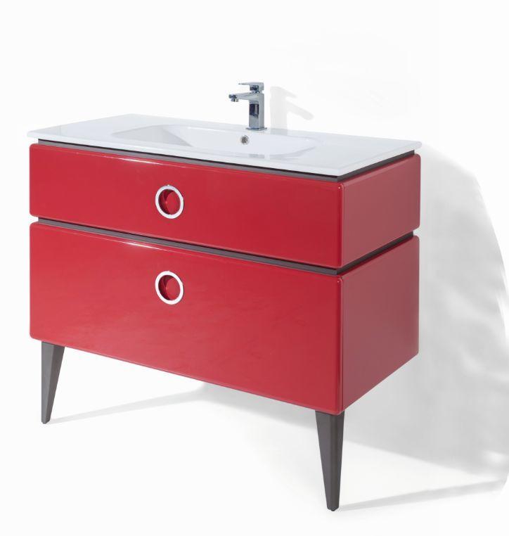 Meuble vasque rouge decotec decofinder - Meuble vasque original ...