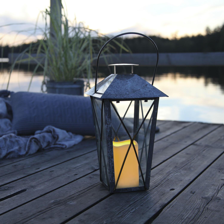 lantern lanterne ext rieur m tal vieilli gris bo lanterne d 39. Black Bedroom Furniture Sets. Home Design Ideas