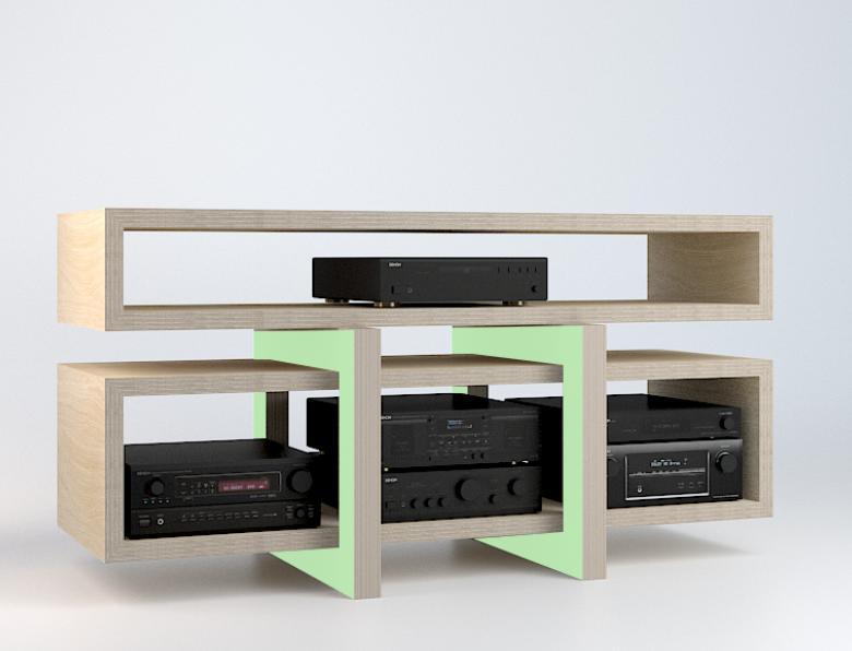 low meuble tv hi fi malherbe edition decofinder. Black Bedroom Furniture Sets. Home Design Ideas