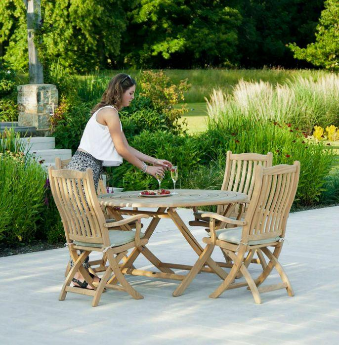 pliante Bengal en Roble - Table de jardin ronde - Naturel ...