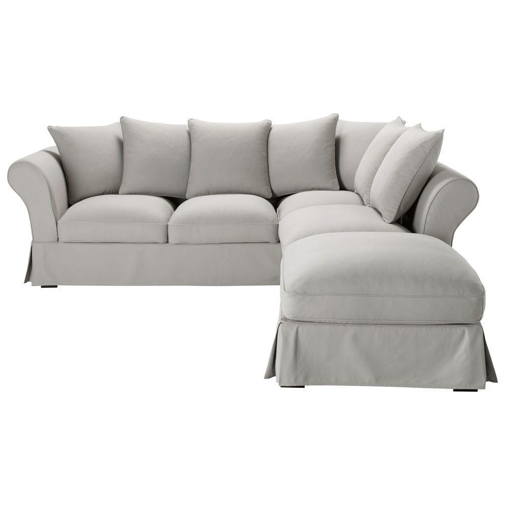 canap d 39 angle convertible 6 places en coton gris clair. Black Bedroom Furniture Sets. Home Design Ideas