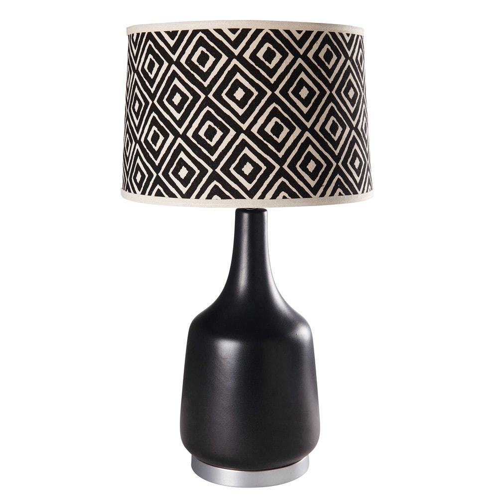 lampe en c ramique noire et coton motifs jacquard. Black Bedroom Furniture Sets. Home Design Ideas