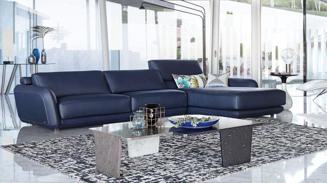 rencontre canap d 39 angle bleu cuir roche bobois. Black Bedroom Furniture Sets. Home Design Ideas