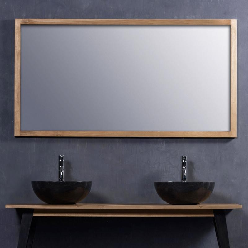 Miroir en bois de teck 150 miroir de salle de bains teck bois dessus bois dessous - Miroir salle de bain 150 ...