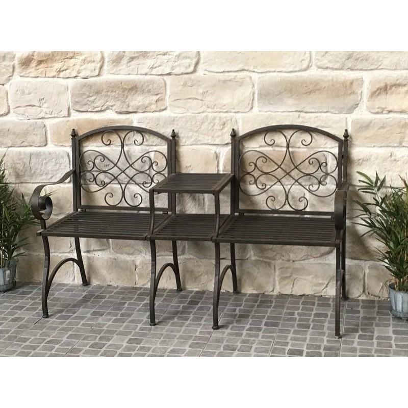 banc fauteuil de jardin avec tablette en fer 154 c banc de jardin. Black Bedroom Furniture Sets. Home Design Ideas