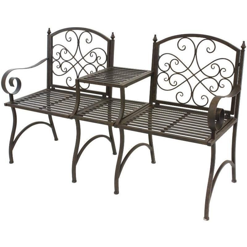 banc fauteuil de jardin avec tablette en fer 154 c banc. Black Bedroom Furniture Sets. Home Design Ideas