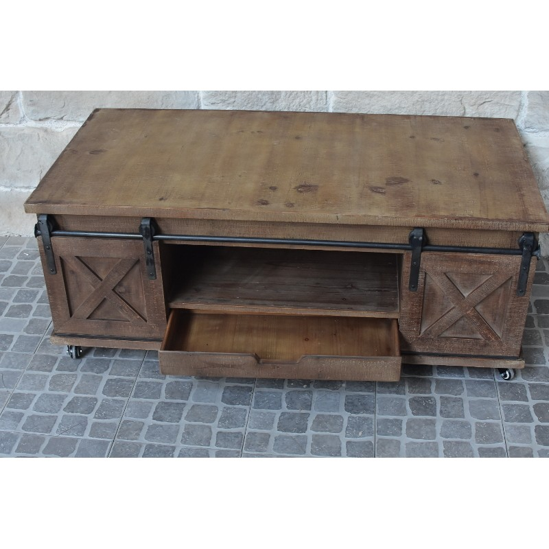 Grande table basse de salon bois fer porte roule table basse rectangulaire bois chemin - Porte en bois salon ...