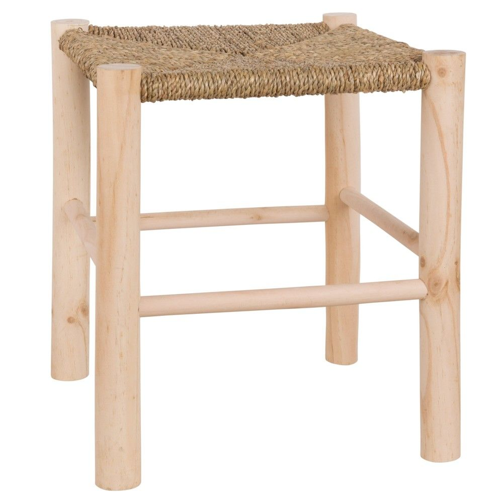 tabouret en pin et fibre v g taletabouret beige. Black Bedroom Furniture Sets. Home Design Ideas