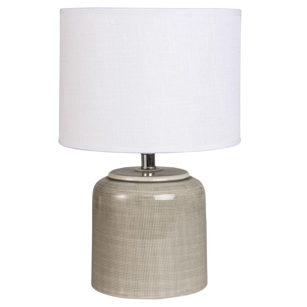 lampe en céramique taupe abatjour en coton écrulampe à