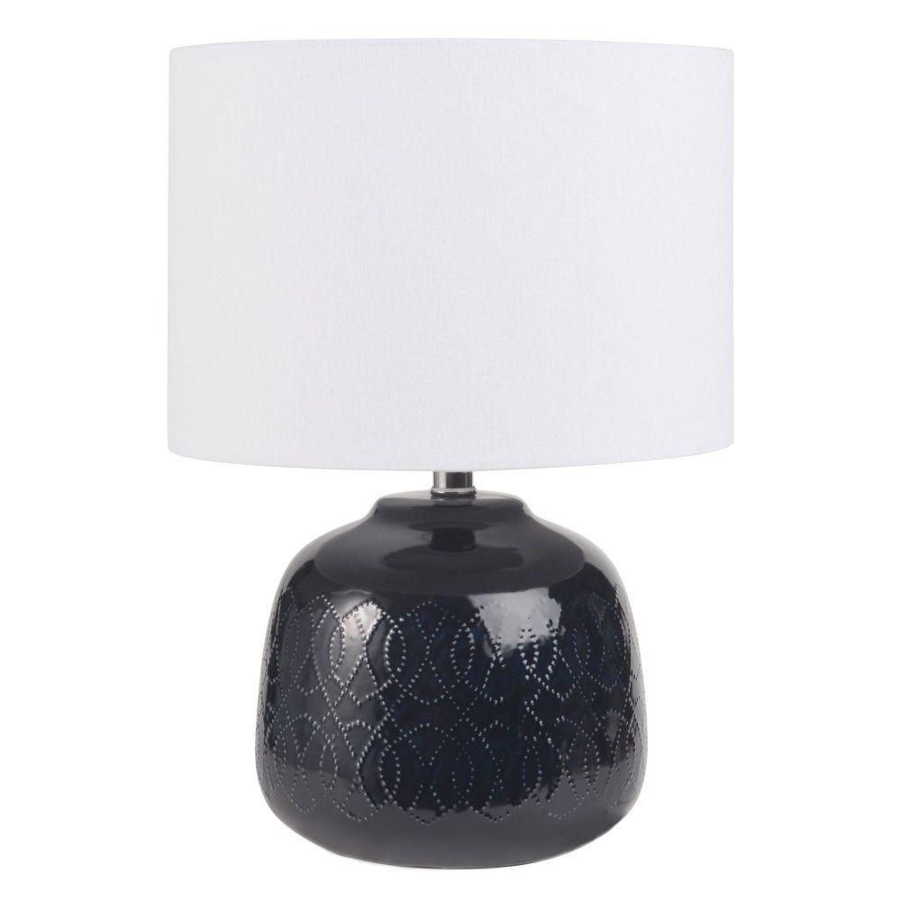 lampe en céramique bleue et abatjour blanclampe à poser  b