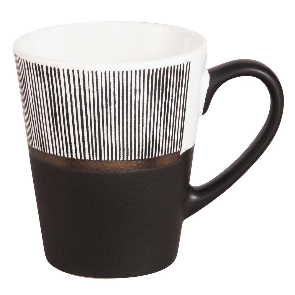 Tasse en fa ence blanche et noire rayurestasse th noir 7x9x0cm maisons du monde - Tasse maison du monde ...