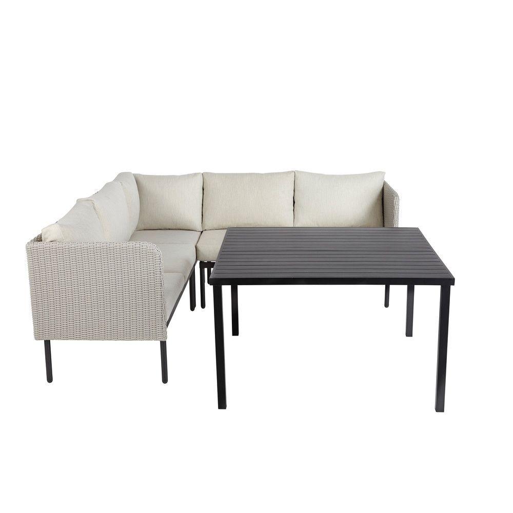 Table de jardin avec canapé d\'angle en aluminium et résine ...
