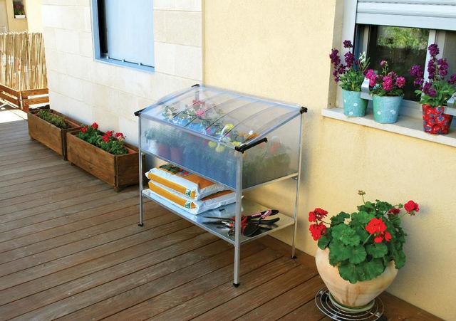 Chalet & Jardin - Mini-serre-Chalet & Jardin-Châssis surélevé 0,55m² en polycarbonate et alumin