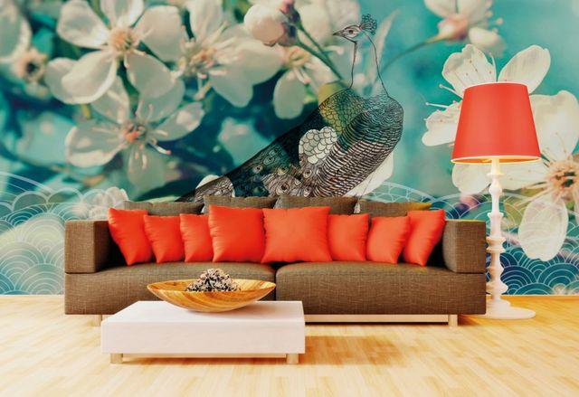 ALYOS - Papier peint panoramique-ALYOS-Paon