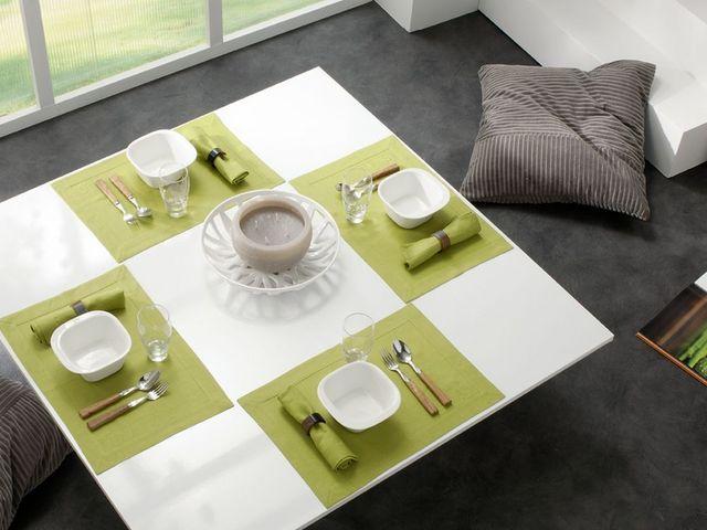 BLANC CERISE - Set de table-BLANC CERISE-Lot de 2 sets de table - lin déperlant - uni, brod